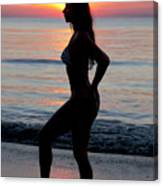 Silhouette Of A Fit Woman In Bikini  Canvas Print