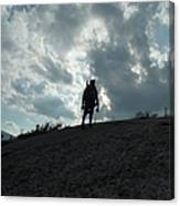 Silhouette Of A Hiker On Middle Sugarloaf Mountain - White Mountains New Hampshire Usa Canvas Print