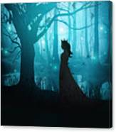 Silhouette Of A Womanin In A Forest At Twilight Canvas Print