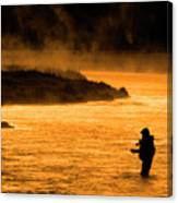 Silhouette Of Man Flyfishing Fishing In River Golden Sunlight Canvas Print