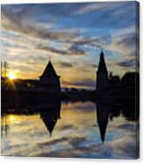 Silhouette Of Stronghold And Sunset. Pskov Kremlin. Russia Canvas Print