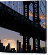 Silhouette Of The Manhattan Bridge Canvas Print