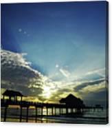 Silhouette Pier 60 Sunset Canvas Print