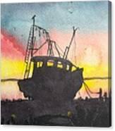 Grounded Shrimp Boat Canvas Print
