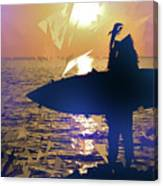 Silhouette Woman On Coast Holding Surfboard At Sunset Canvas Print