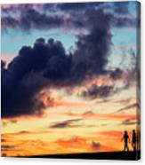Silhouettes Of Three Girls Walking In The Sunset Canvas Print