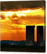 Silos At Sunset Canvas Print