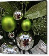 Silver And Green For Christmas Canvas Print