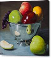 Silver Bowl Of Fruit Canvas Print