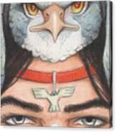 Silver Hawk Warrior Canvas Print