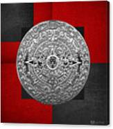 Silver Mayan-aztec Calendar On Black And Red Leather Canvas Print