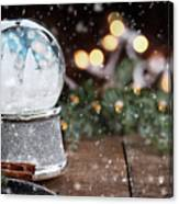 Silver Snow Globe With White Christmas Trees Canvas Print
