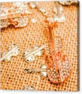 Silver Violin Pendant With Diamonds Canvas Print
