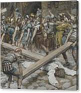Simon The Cyrenian Compelled To Carry The Cross With Jesus Canvas Print