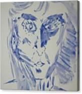 Simple Portrait In Blue.water Color 1999 Canvas Print