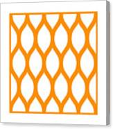 Simplified Latticework With Border In Tangerine Canvas Print
