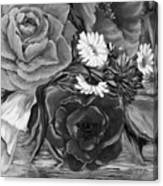 Simply Flowers 1 Black And White Canvas Print