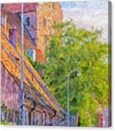 Simrishamn Street Scene Digital Painting Canvas Print