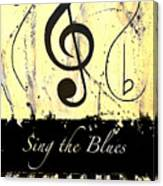 Sing The Blues Yellow Canvas Print