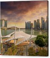 Singapore City Skyline By Marina Bay Sunset Canvas Print