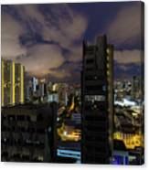 Singapore Cityscape On A Cloudy Night Canvas Print