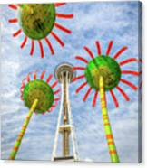 Singing Flowers Under The Space Needle Canvas Print