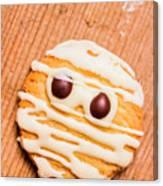 Single Homemade Mummy Cookie For Halloween Canvas Print
