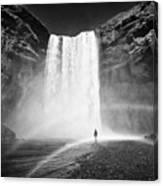 Single Tourist At Skogafoss Waterfall In Iceland Canvas Print