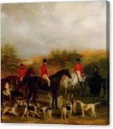 Sir Edmund Antrobus And The Old Surrey Fox Hounds At The Foot Of Canvas Print
