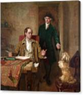 Sir Joshua Reynolds Visiting Goldsmith In His Study Canvas Print
