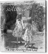 Sisters-black And White Canvas Print