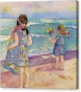 Sisters By The Sea Canvas Print