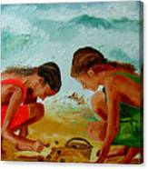 Sisters On The Beach Canvas Print