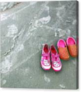 Sisters Playing Barefoot In The Sand Canvas Print