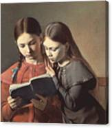 Sisters Reading A Book Canvas Print