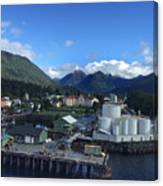 Sitka From The Waterfront Showing The Three Sisters In The Back 2015 Canvas Print