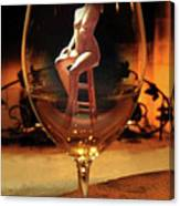 Sitting Nude In Glass Canvas Print