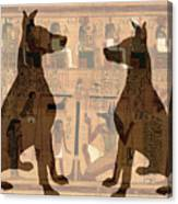 Sitting Proud Dogs And Ancient Egypt Canvas Print