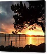 Siuslaw River Autumn Sunset Canvas Print