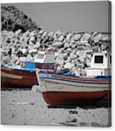 Skala Eressos Harbour Boats Canvas Print