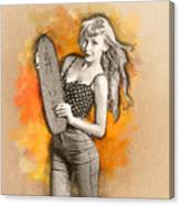 Skateboard Pin-up Illustration Canvas Print