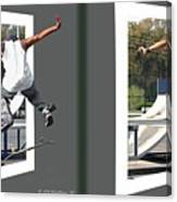 Skateboarder - Gently Cross Your Eyes And Focus On The Middle Image Canvas Print