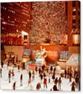 Skating At Rockefeller Plaza Canvas Print