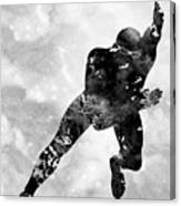 Skating Man-black Canvas Print