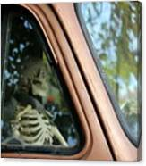 Skeleton Behind The Wheel Of Chevy Truck Canvas Print