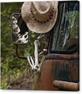 Skeleton Crew - Skeleton Driving A Vintage Truck Canvas Print