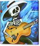Skeleton Guitar Day Of The Dead  Canvas Print