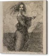 Sketch Of A Young Woman After Leonardo Canvas Print