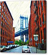 Sketch Of Dumbo Neighborhood In Brooklyn Canvas Print