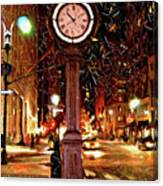 Sketch Of Midtown Clock In The Snow Canvas Print